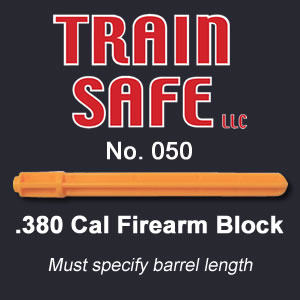 Train, Safe, Gun, Safety, Chamber block, barrel block, Block, chamber, training, barrel, block, locks, barrel insert, hand guns, shot guns, rifles, firearm, officer, police, military, conceal carry, disable, shooting, target, made in the USA, American, parts, law enforcement, instructor, firearm instructor, academy, accidental, shooting, bullet, ammunition, live round, child proof, locked, avoid injury, government, visual indicator, gun shows, gun stores, unloaded, assembled, caliber, 380 cal, 9mm, 40 cal, 45 cal, spring loaded, Berretta, H&K, Glock, Kimber, Ruger, Sig Sauer, Smith & Wesson, Springfield Armory USA, Walther, M9, XFive, storm, compact, combat, ultra, 12 gauge, 223, 308, brownell, magazine, optics, gunsmith, emergency, reloading, ammo, kids, adults, firearm training, gun safety, conceal and carry class, Minnesota, United States, California, Texas, Iowa, New York, Protection, Canada, borders, proven, retired police, custom, gun shop, live round, blanks, bullet proof, John Carlin .380 Caliber Firearm Block - Train Safe