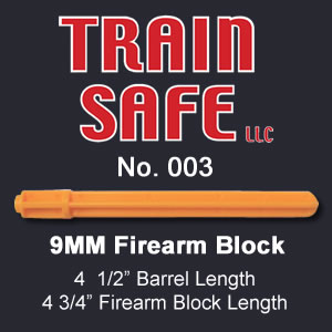 Train, Safe, Gun, Safety, Chamber block, barrel block, Block, chamber, training, barrel, block, locks, barrel insert, hand guns, shot guns, rifles, firearm, officer, police, military, conceal carry, disable, shooting, target, made in the USA, American, parts, law enforcement, instructor, firearm instructor, academy, accidental, shooting, bullet, ammunition, live round, child proof, locked, avoid injury, government, visual indicator, gun shows, gun stores, unloaded, assembled, caliber, 380 cal, 9mm, 40 cal, 45 cal, spring loaded, Berretta, H&K, Glock, Kimber, Ruger, Sig Sauer, Smith & Wesson, Springfield Armory USA, Walther, M9, XFive, storm, compact, combat, ultra, 12 gauge, 223, 308, brownell, magazine, optics, gunsmith, emergency, reloading, ammo, kids, adults, firearm training, gun safety, conceal and carry class, Minnesota, United States, California, Texas, Iowa, New York, Protection, Canada, borders, proven, retired police, custom, gun shop, live round, blanks, bullet proof, John Carlin 9MM Firearm Barrel Block - Train Safe