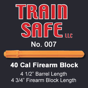 Train, Safe, Gun, Safety, Chamber block, barrel block, Block, chamber, training, barrel, block, locks, barrel insert, hand guns, shot guns, rifles, firearm, officer, police, military, conceal carry, disable, shooting, target, made in the USA, American, parts, law enforcement, instructor, firearm instructor, academy, accidental, shooting, bullet, ammunition, live round, child proof, locked, avoid injury, government, visual indicator, gun shows, gun stores, unloaded, assembled, caliber, 380 cal, 9mm, 40 cal, 45 cal, spring loaded, Berretta, H&K, Glock, Kimber, Ruger, Sig Sauer, Smith & Wesson, Springfield Armory USA, Walther, M9, XFive, storm, compact, combat, ultra, 12 gauge, 223, 308, brownell, magazine, optics, gunsmith, emergency, reloading, ammo, kids, adults, firearm training, gun safety, conceal and carry class, Minnesota, United States, California, Texas, Iowa, New York, Protection, Canada, borders, proven, retired police, custom, gun shop, live round, blanks, bullet proof, John Carlin40 Cal Firearm Barrel Block - Train Safe