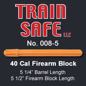 Train, Safe, Gun, Safety, Chamber block, barrel block, Block, chamber, training, barrel, block, locks, barrel insert, hand guns, shot guns, rifles, firearm, officer, police, military, conceal carry, disable, shooting, target, made in the USA, American, parts, law enforcement, instructor, firearm instructor, academy, accidental, shooting, bullet, ammunition, live round, child proof, locked, avoid injury, government, visual indicator, gun shows, gun stores, unloaded, assembled, caliber, 380 cal, 9mm, 40 cal, 45 cal, spring loaded, Berretta, H&K, Glock, Kimber, Ruger, Sig Sauer, Smith & Wesson, Springfield Armory USA, Walther, M9, XFive, storm, compact, combat, ultra, 12 gauge, 223, 308, brownell, magazine, optics, gunsmith, emergency, reloading, ammo, kids, adults, firearm training, gun safety, conceal and carry class, Minnesota, United States, California, Texas, Iowa, New York, Protection, Canada, borders, proven, retired police, custom, gun shop, live round, blanks, bullet proof, John Carlin 40 Cal Firearm Barrel Block - Train Safe