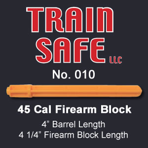 Train, Safe, Gun, Safety, Chamber block, barrel block, Block, chamber, training, barrel, block, locks, barrel insert, hand guns, shot guns, rifles, firearm, officer, police, military, conceal carry, disable, shooting, target, made in the USA, American, parts, law enforcement, instructor, firearm instructor, academy, accidental, shooting, bullet, ammunition, live round, child proof, locked, avoid injury, government, visual indicator, gun shows, gun stores, unloaded, assembled, caliber, 380 cal, 9mm, 40 cal, 45 cal, spring loaded, Berretta, H&K, Glock, Kimber, Ruger, Sig Sauer, Smith & Wesson, Springfield Armory USA, Walther, M9, XFive, storm, compact, combat, ultra, 12 gauge, 223, 308, brownell, magazine, optics, gunsmith, emergency, reloading, ammo, kids, adults, firearm training, gun safety, conceal and carry class, Minnesota, United States, California, Texas, Iowa, New York, Protection, Canada, borders, proven, retired police, custom, gun shop, live round, blanks, bullet proof, John Carlin 45 Cal Firearm Barrel Block