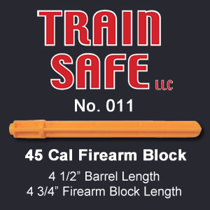 Train, Safe, Gun, Safety, Chamber block, barrel block, Block, chamber, training, barrel, block, locks, barrel insert, hand guns, shot guns, rifles, firearm, officer, police, military, conceal carry, disable, shooting, target, made in the USA, American, parts, law enforcement, instructor, firearm instructor, academy, accidental, shooting, bullet, ammunition, live round, child proof, locked, avoid injury, government, visual indicator, gun shows, gun stores, unloaded, assembled, caliber, 380 cal, 9mm, 40 cal, 45 cal, spring loaded, Berretta, H&K, Glock, Kimber, Ruger, Sig Sauer, Smith & Wesson, Springfield Armory USA, Walther, M9, XFive, storm, compact, combat, ultra, 12 gauge, 223, 308, brownell, magazine, optics, gunsmith, emergency, reloading, ammo, kids, adults, firearm training, gun safety, conceal and carry class, Minnesota, United States, California, Texas, Iowa, New York, Protection, Canada, borders, proven, retired police, custom, gun shop, live round, blanks, bullet proof, John Carlin 45 Cal Firearm Barrel Block - Train Safe